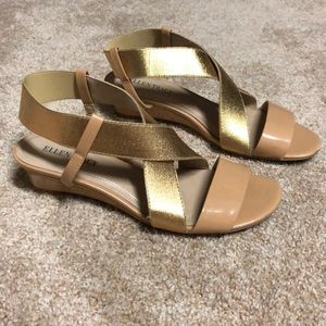 Gold and Nude Small wedge sandals